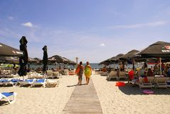 在黑海的Mamaia海滩 免版税图库摄影