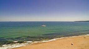 在黑海,保加利亚的小船 免版税图库摄影