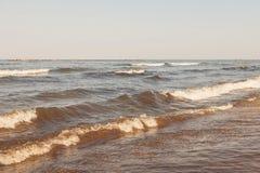 在黑海,罗马尼亚, Mamaia海滩,康斯坦察的日落 图库摄影