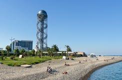 在黑海Pebble海滩的看法 免版税图库摄影