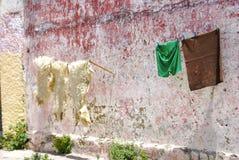 在洗涤的线,唐基尔,摩洛哥的羊皮 免版税图库摄影