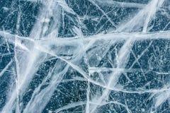 在冻湖的冰纹理 库存照片