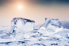 在冻湖的冰 库存照片