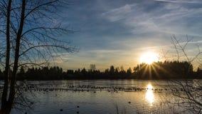在冻湖的日落在清楚的天空下 免版税库存图片
