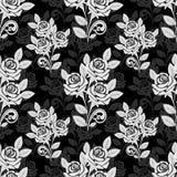 在黑灰色颜色的无缝的玫瑰色样式 免版税图库摄影