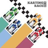 在终点线的Karting 免版税库存照片