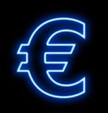 在黑焕发的欧洲霓虹灯广告 免版税图库摄影