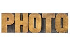 在活版木头类型的照片词 库存图片