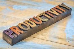 在活版木头类型的生产力词 库存图片