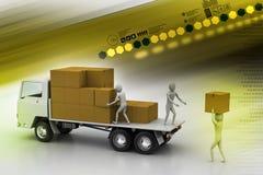 在货物交付的运输卡车 免版税库存图片