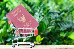 在购物车的护照 库存图片