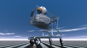 在购物车的橡胶鸭子 免版税库存图片