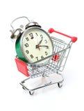 在购物车的闹钟 免版税库存照片