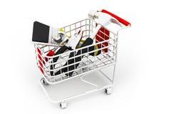 在购物车里面的建筑工具 免版税图库摄影