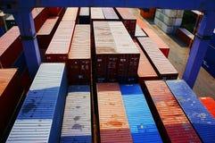 在货物集中处,越南的容器 图库摄影