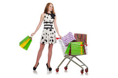 在购物以后的妇女在被隔绝的超级市场 库存图片