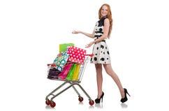 在购物以后的妇女在被隔绝的超级市场 免版税图库摄影
