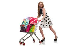 在购物以后的妇女在超级市场 免版税图库摄影
