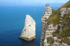 在彻特d'Albatre的白垩峭壁 Etretat 免版税库存图片