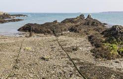 在洋玉兰, Anglesey,威尔士,英国的有卵石花纹的海滩 图库摄影