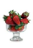 在玻璃四的草莓 库存照片