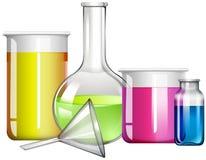 在玻璃容器的液体物质 向量例证
