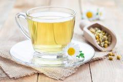 在玻璃杯子、春黄菊花和干茶的甘菊茶在背景,水平 免版税库存图片