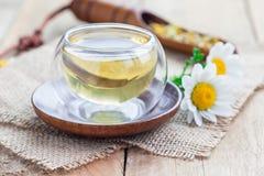 在玻璃杯子、春黄菊花和干茶的甘菊茶在背景 免版税库存图片