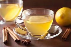 在玻璃杯子的热的柠檬姜桂香茶 库存图片