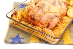 在玻璃烤盘特写镜头的炸鸡 免版税库存图片