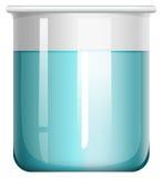 在玻璃烧杯的蓝色液体 库存图片