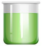 在玻璃烧杯的绿色解答 向量例证