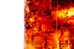 在玻璃特写镜头的可乐 免版税图库摄影