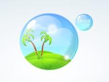 在玻璃球形的自然救球生态概念的 免版税库存照片