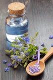 在玻璃瓶、木匙子和医治用的flo的蓝色精油 免版税库存照片
