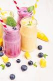 在玻璃瓶子有秸杆的,薄荷叶,芒果切片,蓝莓,关闭的新近地被混和的黄色和紫罗兰色果子圆滑的人 软的w 库存照片