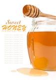 在玻璃瓶子的蜂蜜 库存图片