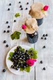 在玻璃瓶子的被保存的自创黑醋栗果酱在木桌上 新鲜的莓果和绿色叶子,葡萄酒白色板材,顶视图 库存图片