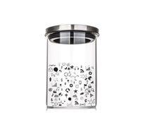 在玻璃瓶子里面的图画图表有铝盒盖的 免版税库存照片