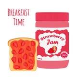 在玻璃瓶子,与果冻的多士的草莓酱 平的样式 库存图片