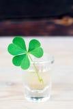 在玻璃的三片叶子三叶草在木桌上 免版税库存图片