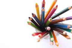 在玻璃的五颜六色的铅笔 免版税库存图片