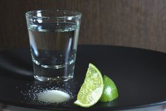 在玻璃的伏特加酒,酒精,石灰,盐 库存照片