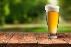 在玻璃的啤酒在反对公园的木桌上 库存照片