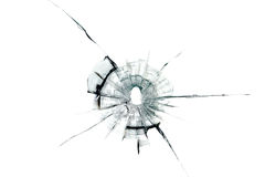 在玻璃的弹孔 库存图片