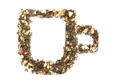 在玻璃的形状的茶 免版税库存照片