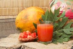 在玻璃的新鲜的木瓜汁用番木瓜果子、叶子和切片 免版税库存照片