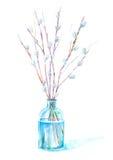 在玻璃的杨柳 春天和复活节图象 向量例证