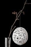 在玻璃的桤木分支与一个白色圣诞节球 库存图片