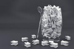 在玻璃的白色牙 向量例证